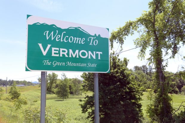 """""""Welcome to Vermont"""" state sign."""