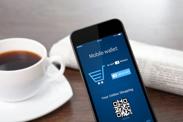 using a mobile wallet to shop on a smatphone