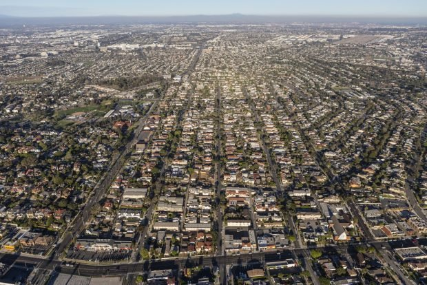 Aerial view of South Bay neighborhoods in Los Angeles County, Calif.