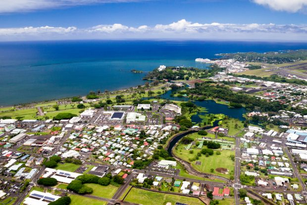 Aerial view over Hilo, Hawaii.
