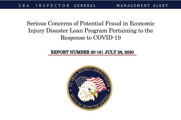 Cover page of the SBA Inspector General's report.