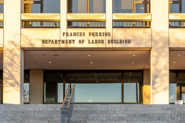 Entrance of the U.S. Department of Labor building in Washington, D.C.