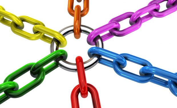 Diversity and Inclusion represented by different colored chains linked together.