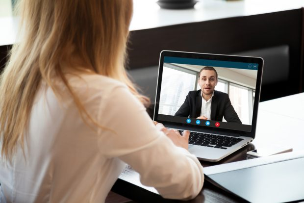 Conducting an interview for a job on Zoom.