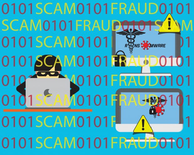 Online COVID-19 scams with a hacker behind a laptop