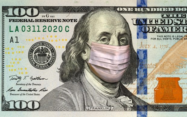 100 dollar bill with a mask on Benjamin Franklin