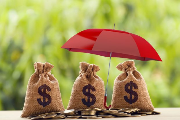 bags of money protected by a red umbrella