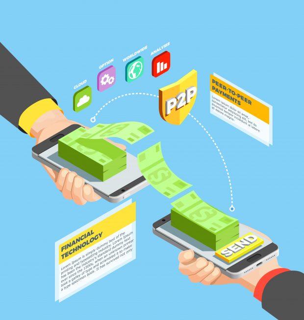 money transferring between smartphones