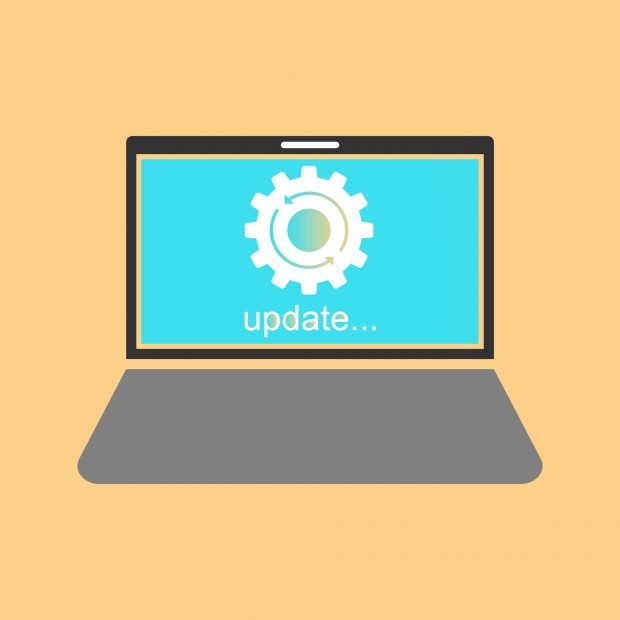 laptop screen showing a software update