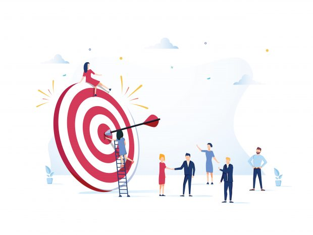 employees hitting a dart board target to earn a promotion
