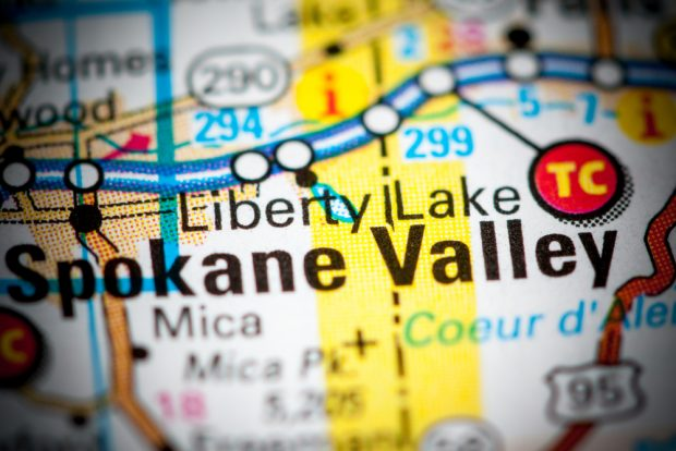 Liberty Lake, Wash. on a map.