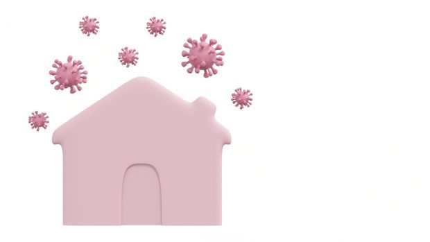 pink house surrounded by the coronavirus