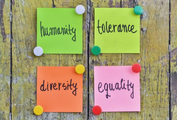 humanity tolerance diversity equality post-it notes