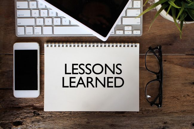 Lessons learned text on notebook