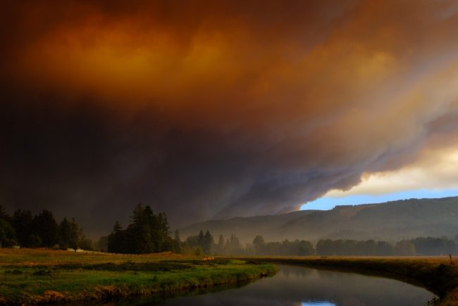 Smoke over landscape in Oregon