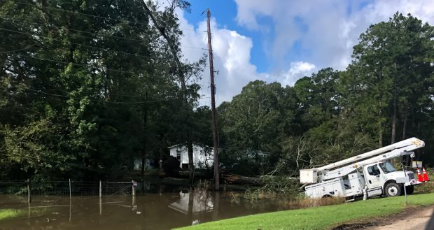Crews work to restore power in Louisiana in the days after Hurricane Laura.