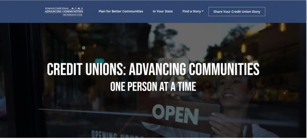 Screenshot of CUNA Advancing Communities web page.