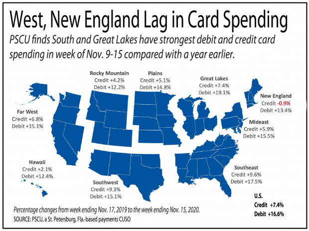 map of the U.S. showing trends of credit and debit card spending
