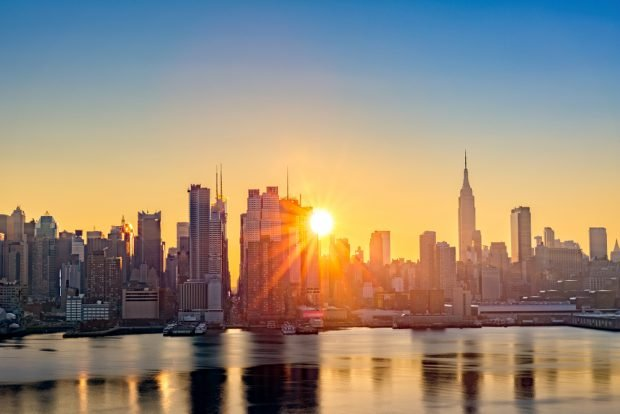 Sunrise in New York City, home to Municipal Credit Union.