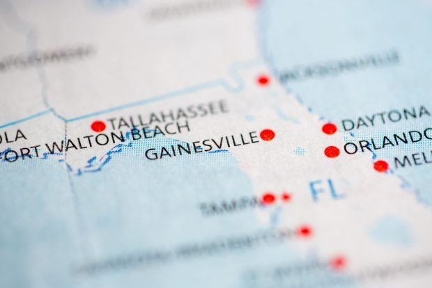 Gainesville, Florida on a map