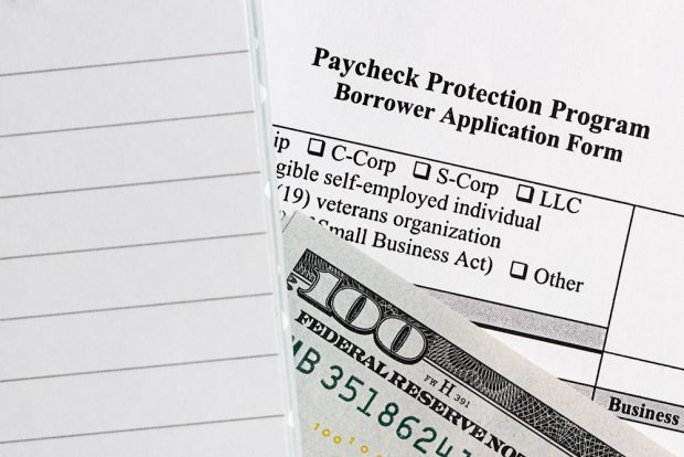 Paycheck Protection Program application with cash