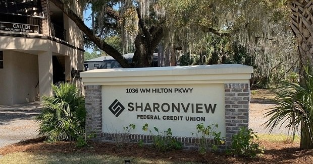 Sign outside Sharonview FCU's new branch on Hilton Head Island.