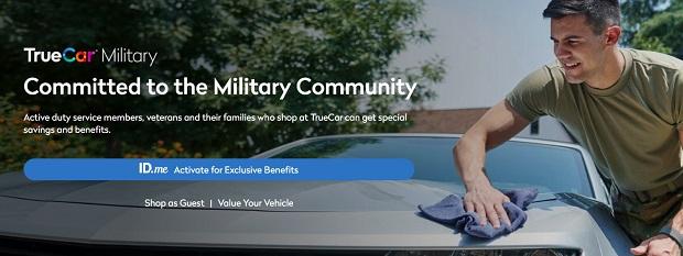 Screenshot of the TrueCar military car buying campaign.