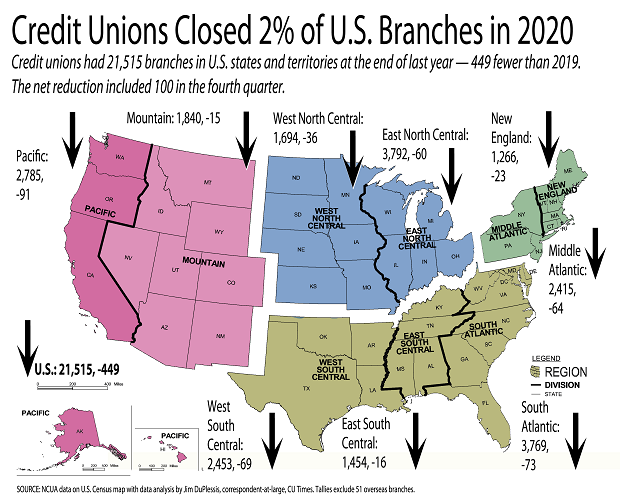 U.S. map showing the decline of credit union branches around the country.