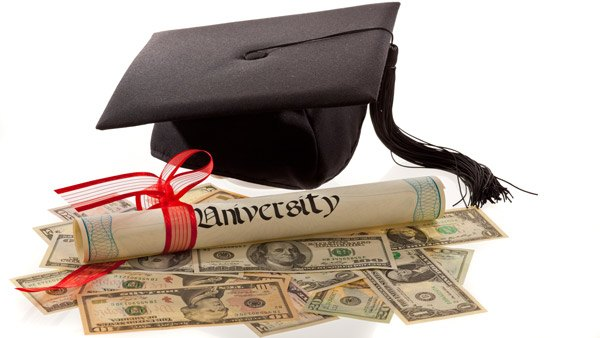 College hat, diploma and money