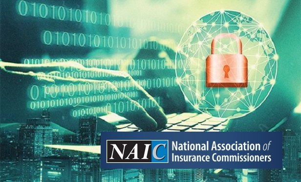 NAIC logo over a view of a hacker's hands (Credit: Shutterstock and Allison Bell/ALM)