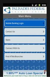This is a mobile banking page from Palisades FCU.
