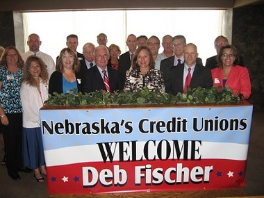 State Sen. Deb Fischer, center, with credit union representatives at a meet-and-greet last week.