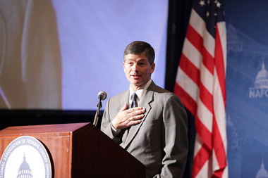 Rep. Jeb Hensarling drew applause when the Texas Republican called the CFPB and Dodd-Frank Act a legislative drive-by shooting.