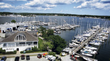 Opened in 1843, the Mystic Shipyard has evolved over the past few centuries from building schooners to a recreational marina that offers yacht space to 165 summer residents.