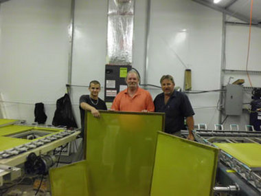 The finished products are completely refurbished frames that can be used as a silk screen on everything from cereal boxes to large banners. Pictured here is the A Plus Silk Screen team, Douglas Lawson, Glenn Sasser (founder) and Eddie Lawson.