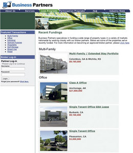 Business Partners' website displays the range of property types it markets nationwide.