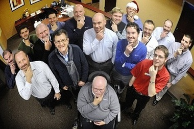 This photo from Press Enterprise Inc. shows some freshly shaved faces. Seated in front, Wayne Hawley. Standing in the front row are, from left, Jeff Balestrini, Gary Surak, Brett Johnson, Jay Reed and Nick Jones. In the back row are, from left, Ed Moyer, Tom Rambo, Bill Lavage, Christopher Court, Dave Shope, Ryan Troup, Joe Bleznuck, Scott Temple, Mike Thomas and Matt Gardill.