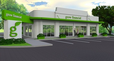 This is an artist's rendering of the new Grow Financial branch set to open in Lakeland, Fla., this spring.