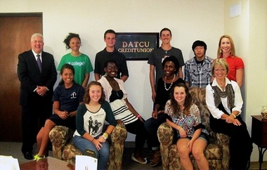 Here are DATCU leaders and its new Junior Board of Directors. Standing (back row, from left), DATCU President/CEO Dale Kimble, Morgan Carter, Max Atkinson, Javan Stalls, Virin Tamprateep, DATCU Senior Vice President/CFO Melanie Vest.) Seated, (from left) Haylee Smith, Emily Staniszewski, Dionne Agawu, Jasmine Kennard, Kylie Richter, DATCU Vice President of Business Development Pat Sherman.