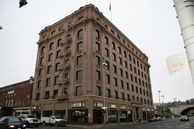 "May Arkwright was a saloon cook and Levi ""Al"" Hutton a locomotive engineer who became land developers and political activists, and philanthropic, pro-union silver mine millionaires who constructed this, the Hutton Building, in Spokane in 1906."