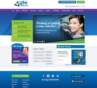 This is GTE Financial's new website, which includes the ability to make marketing changes on the fly.
