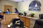 Tellers inside the new Lakota Federal Credit Union on Pine Ridge Indian Reservation in Kyle, S.D.