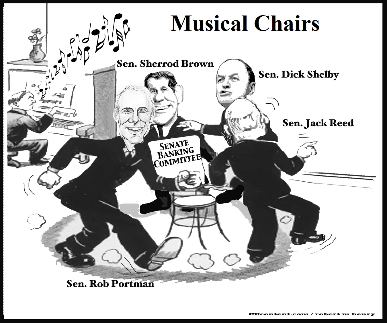 Musical chairs cartoon credit union times for Chaise musicale