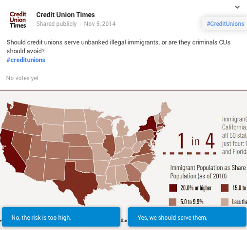 credit unions to serve undocumented poll