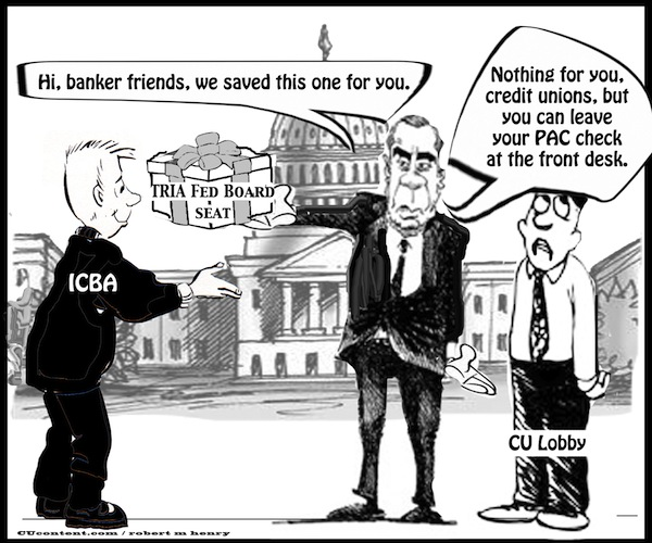 lobbying credit unions PAC editorial cartoon